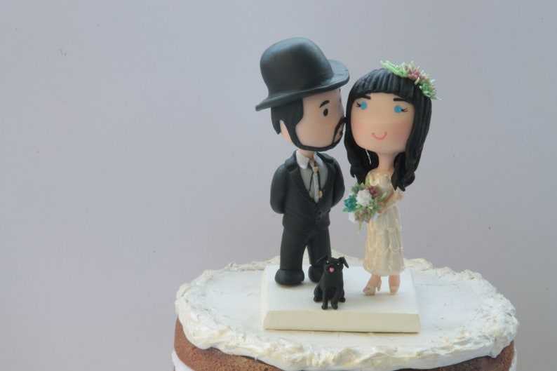d61a52b3ef0 Cowboy Wedding Cake Toppers Chibi Anime cowgirl hat cowboy