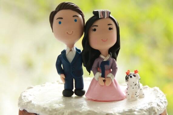 Korean Chibi Wedding Cake Topper Anime Couple Bride And Groom