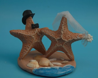 Beach Wedding Cake Topper with Starfish and Seashells - Beach Wedding Cake Topper with Starfish and Seashells - sea shell centerpiece