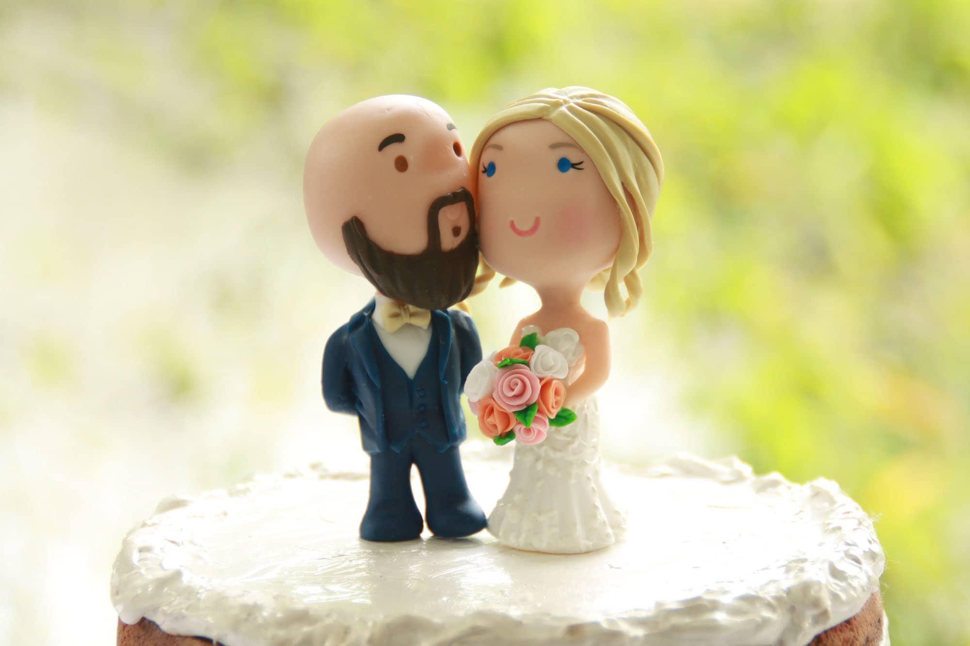 Chibi Wedding Cake Topper Bald Anime Couple Bride and Groom | Etsy