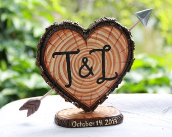 Rustic Wedding Cake Topper - Letter T & L Personalized  Cake Topper - Keepsake Wedding Cake Topper