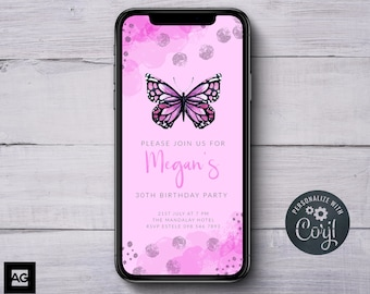 Purple Butterfly Invitation Electronic Invitations Digital Invites SMS Birthday Text Message