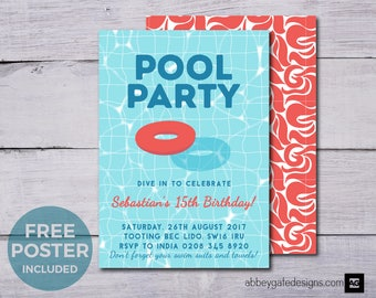Indoor Pool Party Etsy