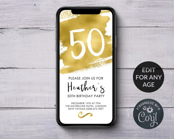 IPhone Birthday Invitation Electronic Invites Gold INSTANT DOWNLOAD Text Message Invite