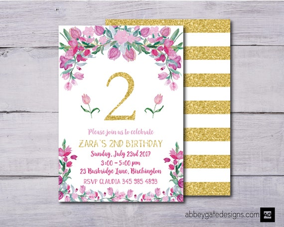 Floral Birthday Invitation First Girls
