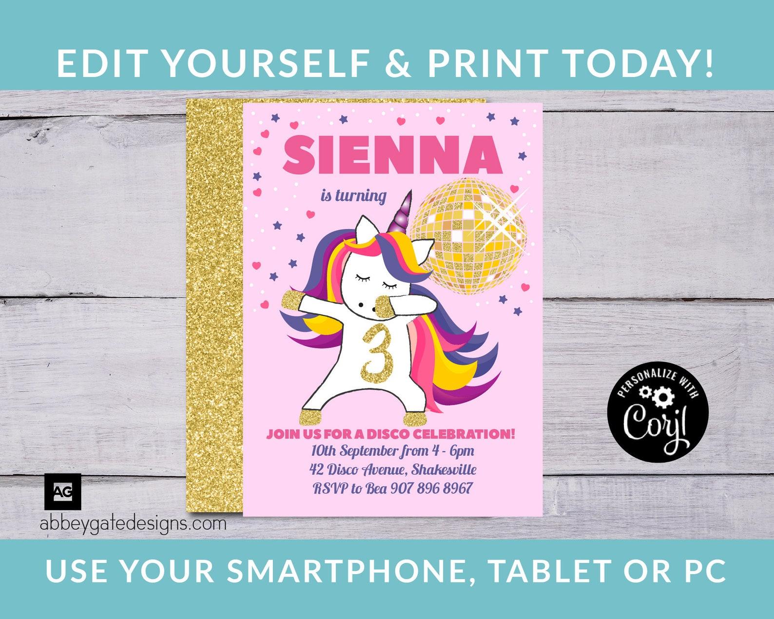 Printable Unicorn Invitations Page Eight