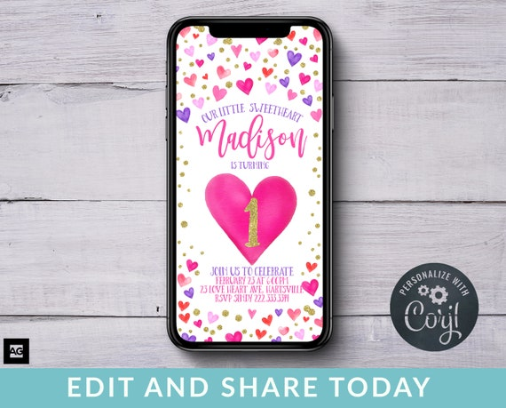 Electronic Love Heart Invites Digital Text Message Valentine