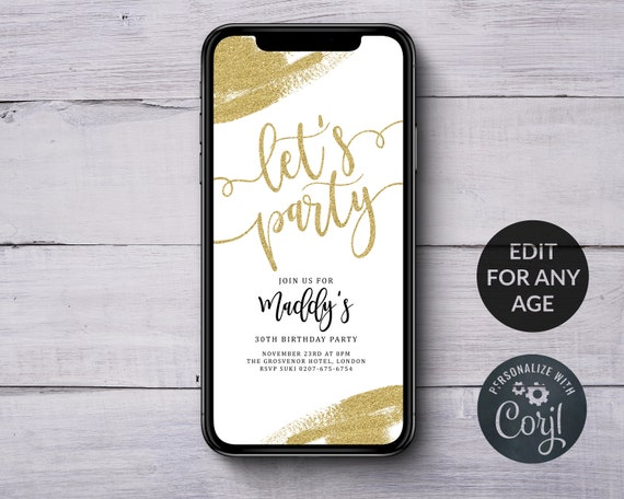 Electronic Gold Birthday Invitations SMS