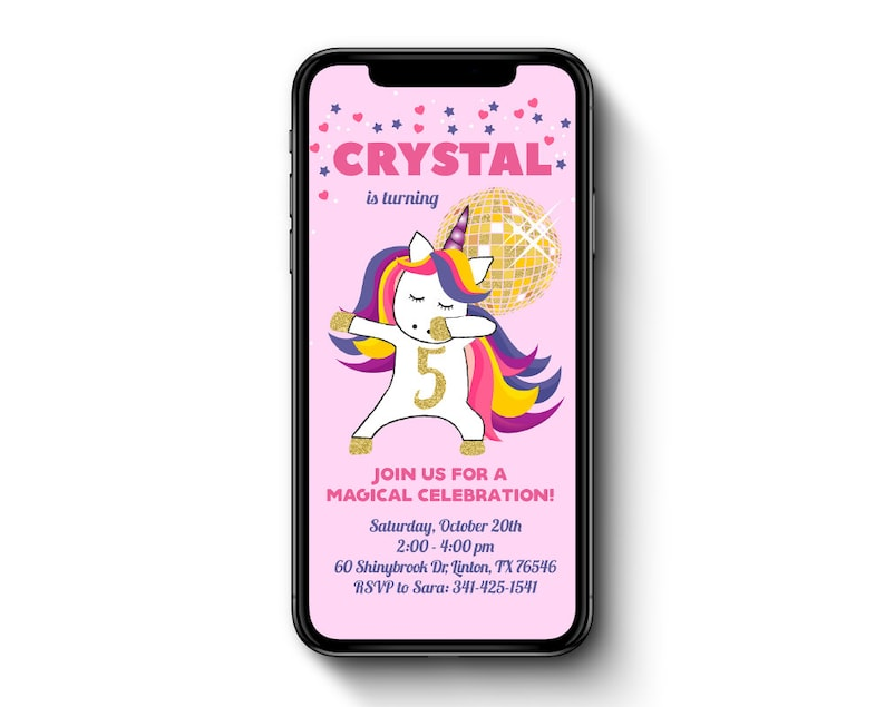 Electronic Unicorn Party Invite SMS