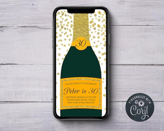 Champagne Birthday Invitation INSTANT DOWNLOAD Gold
