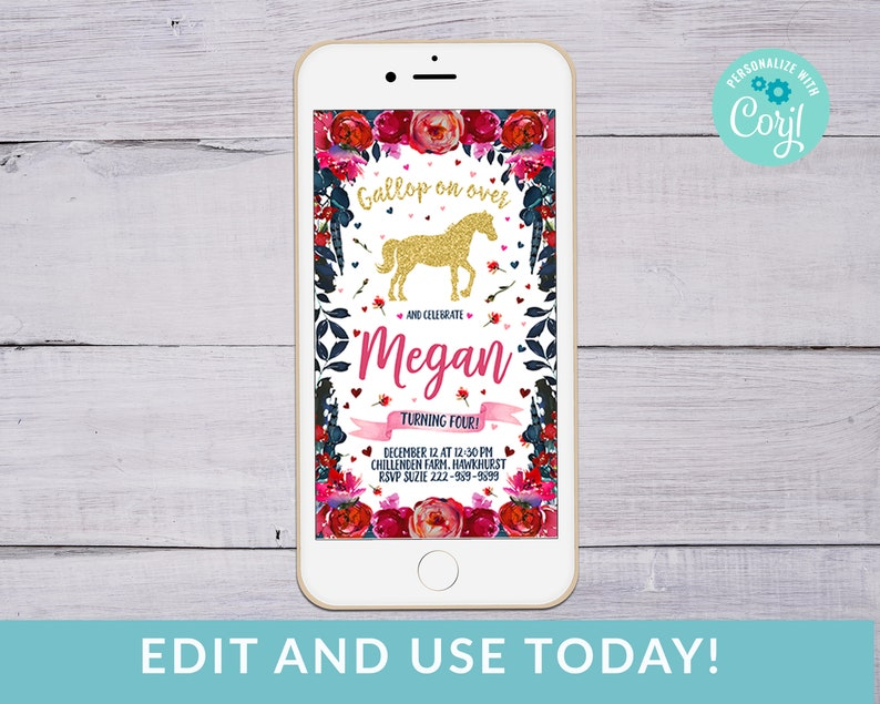 Electronic Horse Birthday Party Invitation IPhone