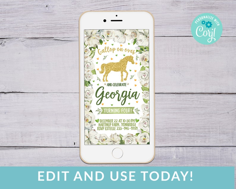 Electronic Horse Party Invitation Text Message