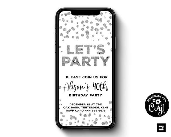 electronic birthday invitation silver confetti birthday etsy