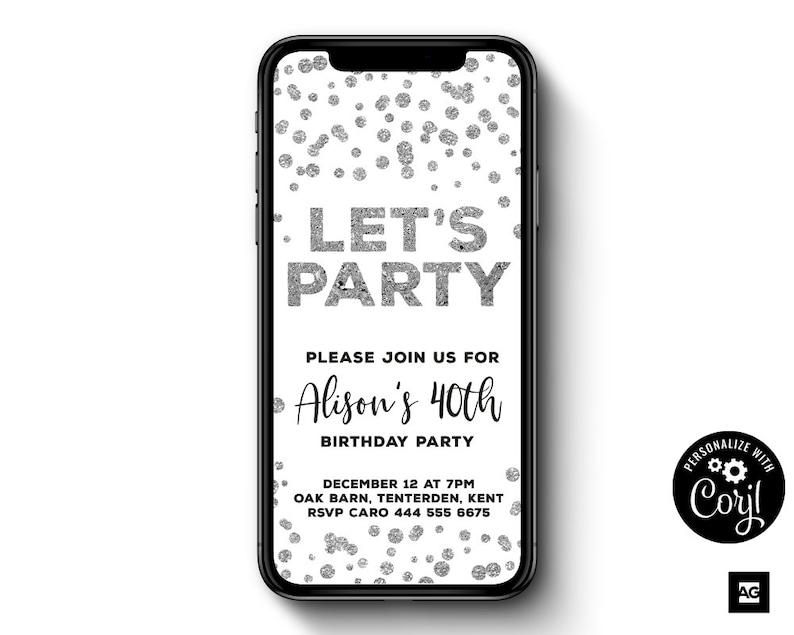 Electronic Birthday Invitation Silver Confetti
