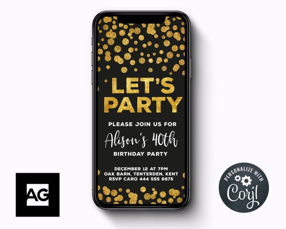 Gold Confetti Electronic Birthday Invitation Template INSTANT DOWNLOAD Text Message Invitations SMS And Black Party Invites