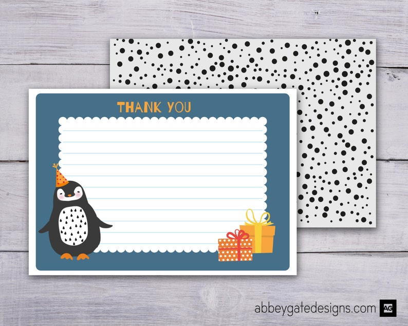 Black and White Thank You Printable Thank You Note Instant Download Penguin Thank You Card Penguin Thank You Printable Thank You Note
