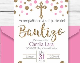 Baptism Invitation In Spanish Printable Boy Invitacion Etsy