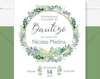 Baptism Invitation In Spanish Printable Girl Invitacion Etsy