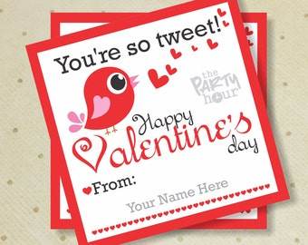 Printable Valentine Tag. Valentine's Day Tag. You Are So Tweet Bird. Printable Valentine's Kids Tags. Valentine's Gift Favor Tags.
