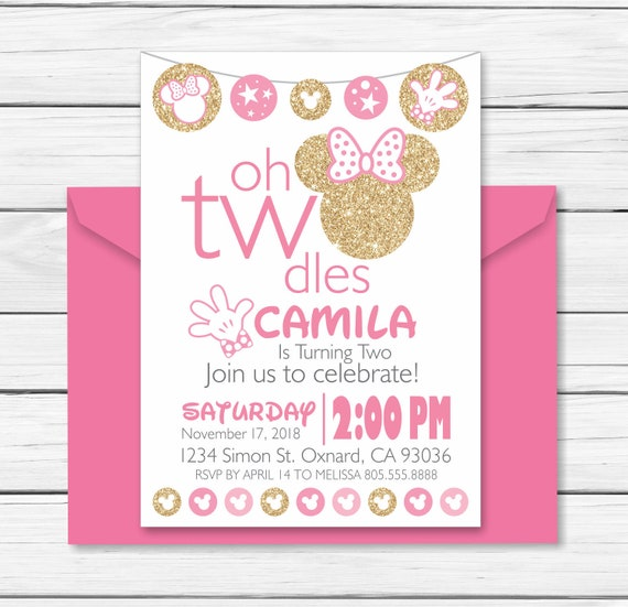 Minnie Mouse Birthday Invitation 2 Year Old Pink And Gold