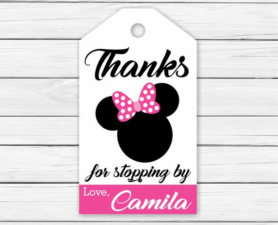 minnie mouse thank you tags personalized printable minnie etsy