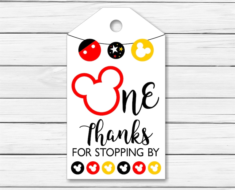 graphic about Printable Mickey Mouse named Mickey Mouse Thank Oneself Tags 1 Calendar year - Printable Mickey Mouse Thank Your self Tags - Initial 1st Birthday Celebration Desire Tags