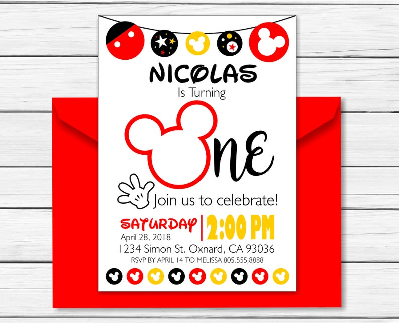 Mickey Mouse Birthday Invitation Printable Mickey Mouse Etsy
