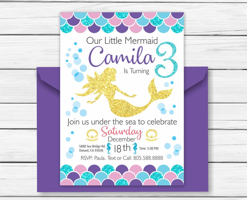 Mermaid Birthday Invitation Under The Sea Party Invite Printable Glitter Effect Personalized Any Age