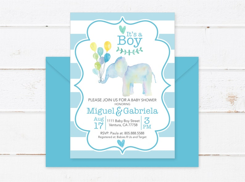 picture relating to Printable Elephant Baby Shower named Elephant Child Shower Invitation Boy, Printable Elephant Child Shower Invitation With Balloons, PDF Elephant Babyshower Invitation, Its a Boy