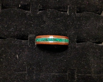 Bentwood Ring - African Bubinga with Malachite Stone and Pure Silver Bands