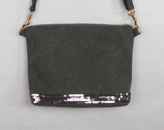 Grey Vanessa Bruno style handbag with smokey grey sequins