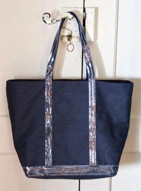 Navy waterproof linen sequin tote bag
