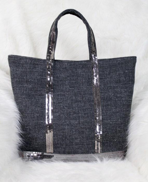 Vanessa Bruno style grey tweed tote bag with silver grey sequins