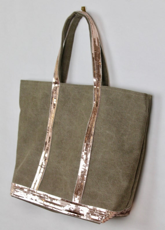 Vanessa Brun style khaki tote bag real pink gold sequins xmas gift for her sequin bag gift gold sequin purse sequin shopping bag