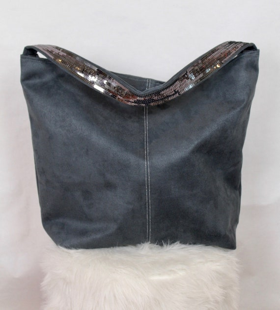 Large grey faux suede tote bag Vanessa Bruno sequin shoulder strap oversize tote bag grey shopping bag xmas gift for her office tote bag