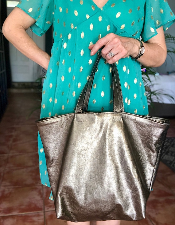 Leather sale purse vintage gold leather tote bag
