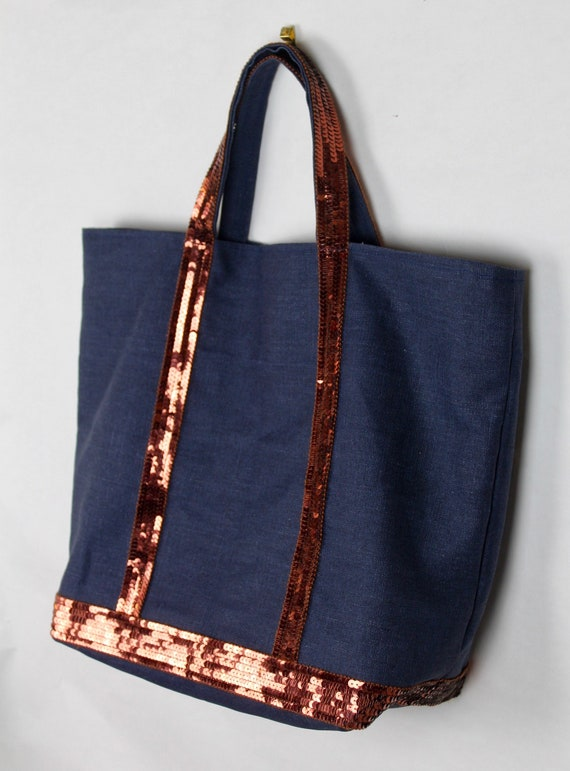 Vanessa Bruno style grey tote bag with silver grey sequins