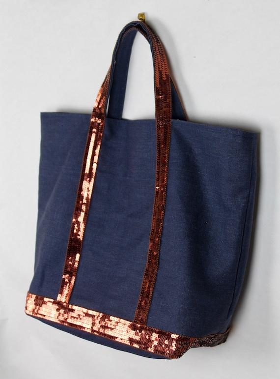Vanessa Bruno style navy coated linen tote bag with burnt orange sequins
