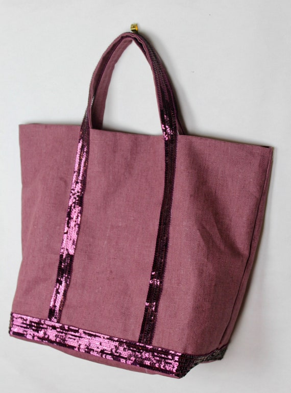 Vanessa Brun tote prune coated linen waterproof tote bag, beach bag,  with prune sequins Vanessa Bruno style, waterproof bag