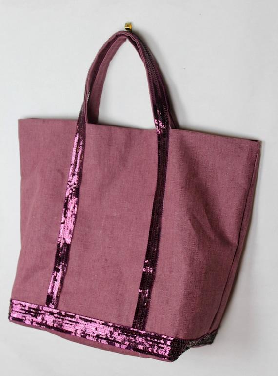Prune coated linen waterproof tote bag with sequins