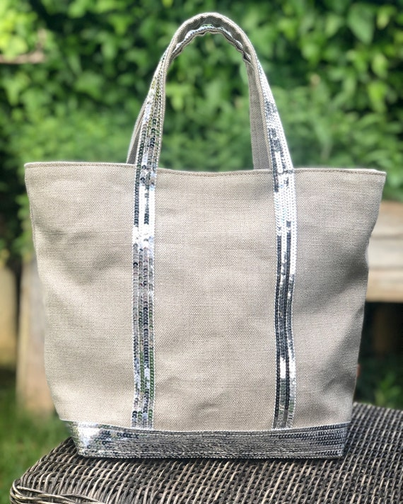 Thick natural linen tote bag with silver sequins