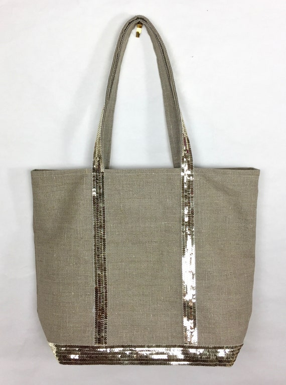 Natural linen waterproof tote with gold sequins