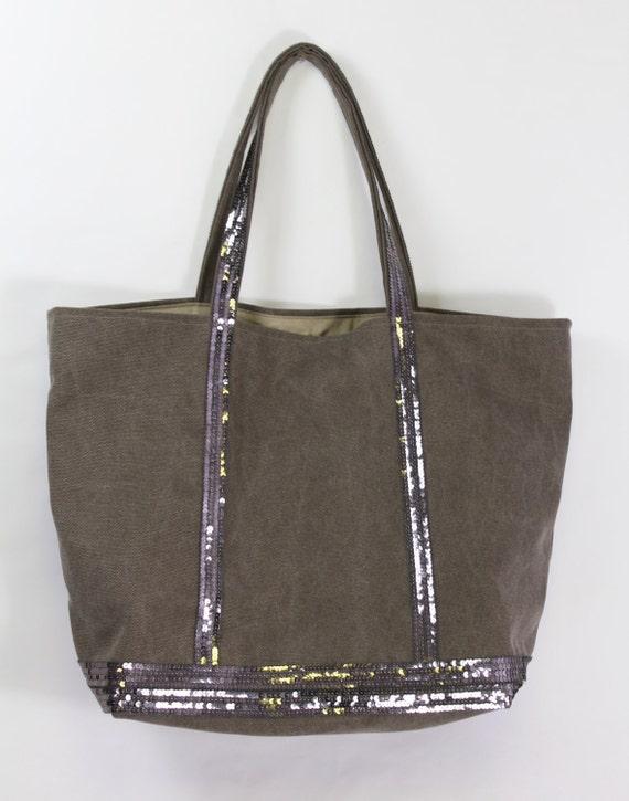 Cotton khaki beach tote bag with sequins
