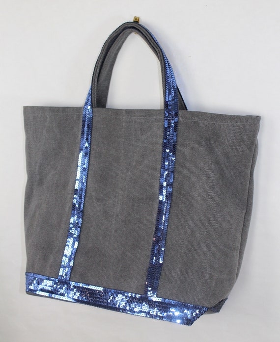 Grey cotton tote bag with blue sequins