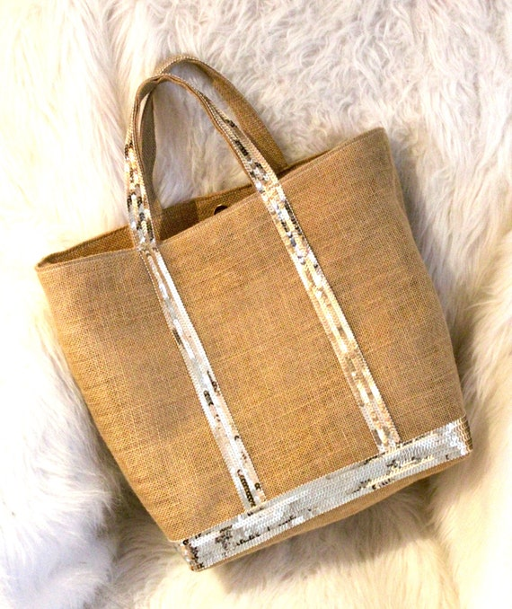 Hessian sequin tote bag, natural sequin tote, sequin purse