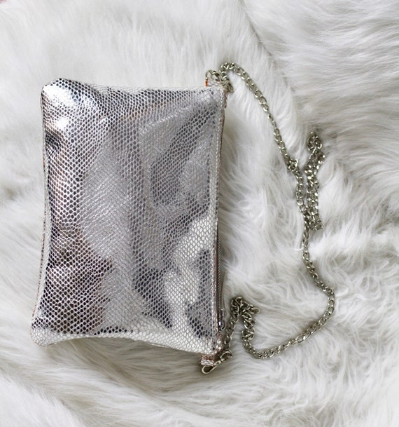 Silver leather purse, silver evening purse, clutch purse, leather clutch, party purse, evening bag, silver leather bag