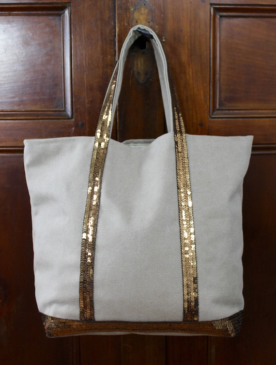 Vanessa Bruno style beige tote with bronze sequins