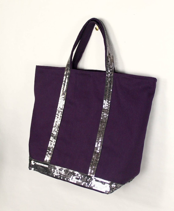 Vanessa Bruno purple silver sequin tote bag purple shopper sequin tote bag silver glitter tote trendy school bag purple christmas gift tote