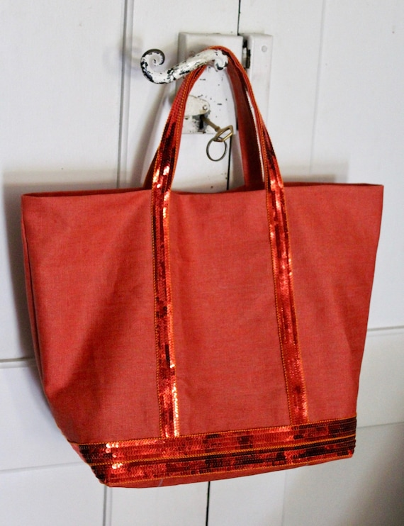 Sale purse Vanessa Bruno style orange coated linen tote bag sequins