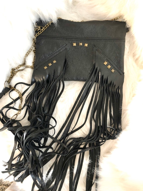 Black leather fringe bag, rock chick bag, black pouch with fringes, shoulder strap bag, black leather clutch bag